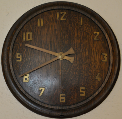Clock Profile Art Deco Oak Wall Clock